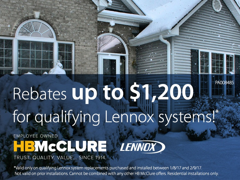 Rebates up to $1,200 for qualifying Lennox Systems