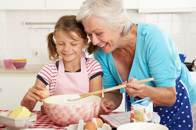 grandma and granddaughter baking together